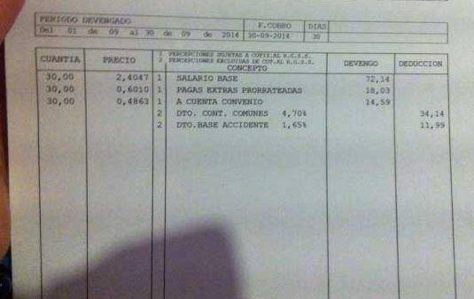 Soy uno de los puestos de trabajo creados en septiembre, a 58 euros al