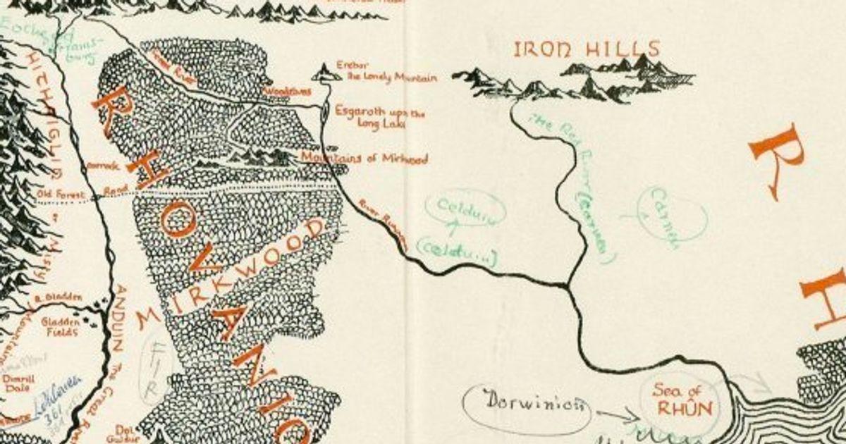 Mapa Tierra Media Hd.Este Mapa De El Senor De Los Anillos Anotado Por J R R
