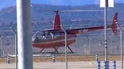 Dos jubilados en helicóptero, los primeros en aterrizar en el aeropuerto de
