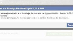 Facebook cobra por el envío de mensajes