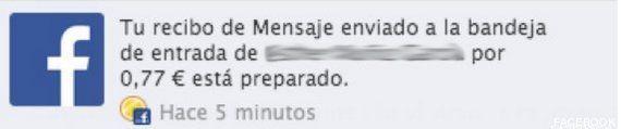 Facebook cobra en España por enviar mensajes privados a
