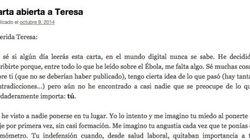 La emotiva carta de una médico a Teresa: