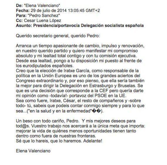 Valenciano renunció a ser jefa del PSOE en la UE en