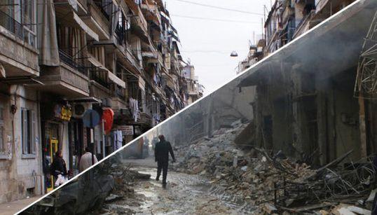 Alepo antes y después de la guerra de Siria, en siete brutales