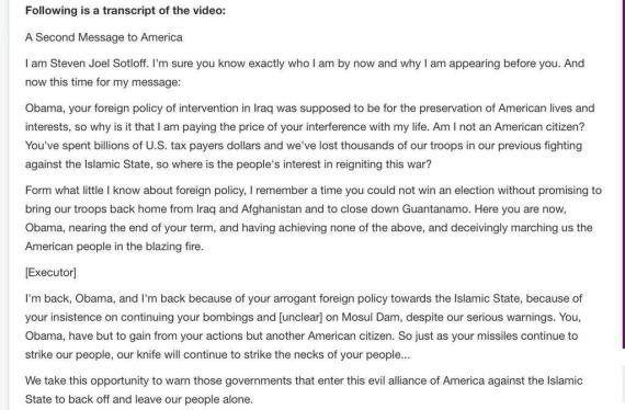 El Estado Islámico difunde un vídeo en el que decapita al periodista Steven