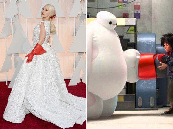 Parecidos razonables Oscar 2015: de los guantes de fregar de Lady Gaga al sushi-vestido de Marion