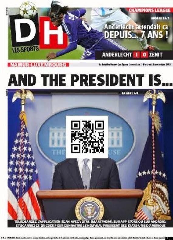 El diario belga 'La Derniére Heure' utiliza un código QR para informar del vencedor de las elecciones...