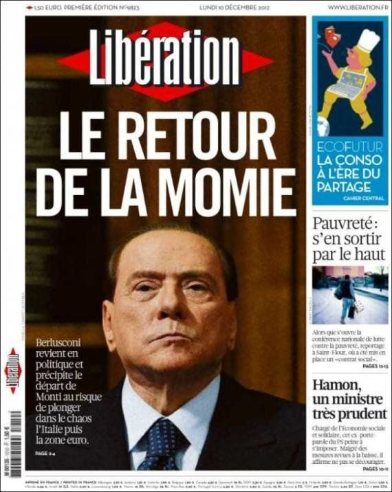 'Libération' dedica su portada a Berlusconi: