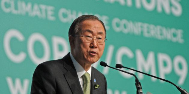 United Nations Secretary General Ban Ki-moon addresses delegates during the opening of the High-level...