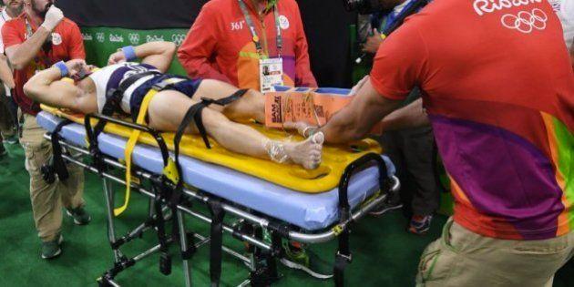 El gimnasta francés Samir Ait Said se fractura tibia y peroné en una