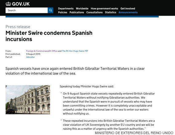 Reino Unido acusa a España de entrar ilegalmente en aguas de