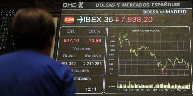 El Ibex 35 se desploma un 12,35% por el 'Brexit', la mayor caída de su