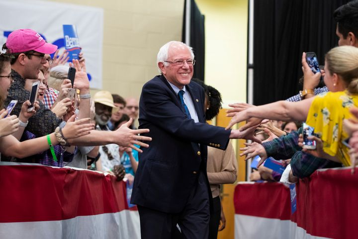 Sen. Bernie Sanders (I-Vt.) greets supporters at a rally in North Charleston, S.C., on Thursday, March 14, 2019.