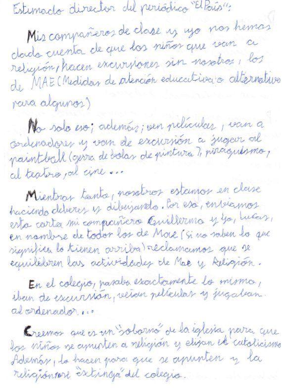 La carta indignada de un niño de 1º de la ESO: