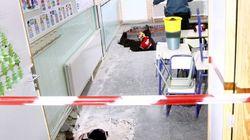 Siete niños heridos tras hundirse el suelo en un cole de Santa