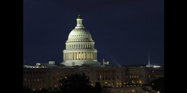 UNITED STATES - AUGUST 23: Nighttime view of the U.S. Capitol in Washington D.C. (Photo By Douglas Graham/Roll...