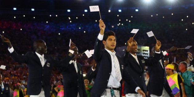 2016 Rio Olympics - Opening Ceremony - Maracana - Rio de Janeiro, Brazil - 05/08/2016. The Refugee Olympic...