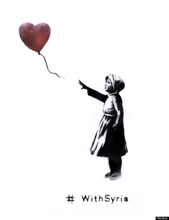 Banksy reinventa una de sus obras más conocidas en el tercer aniversario de la guerra en
