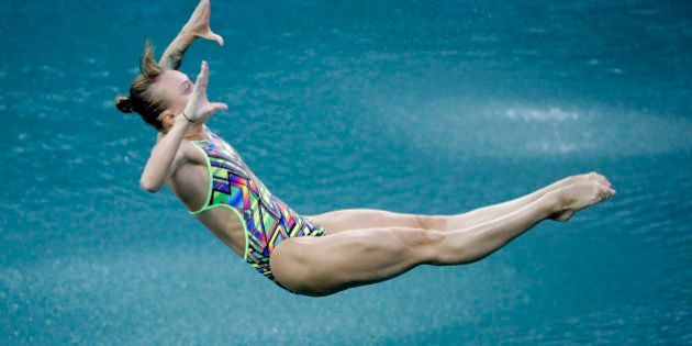 Russia's Nadezhda Bazhina competes during the women's 3-meter springboard diving preliminary round in...