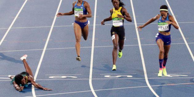 Shaunae Miller y Joao de Oliveira acaban sus pruebas lanzándose en