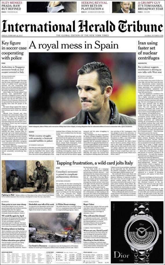 El International Herald Tribune (IHT), sobre Urdangarin: