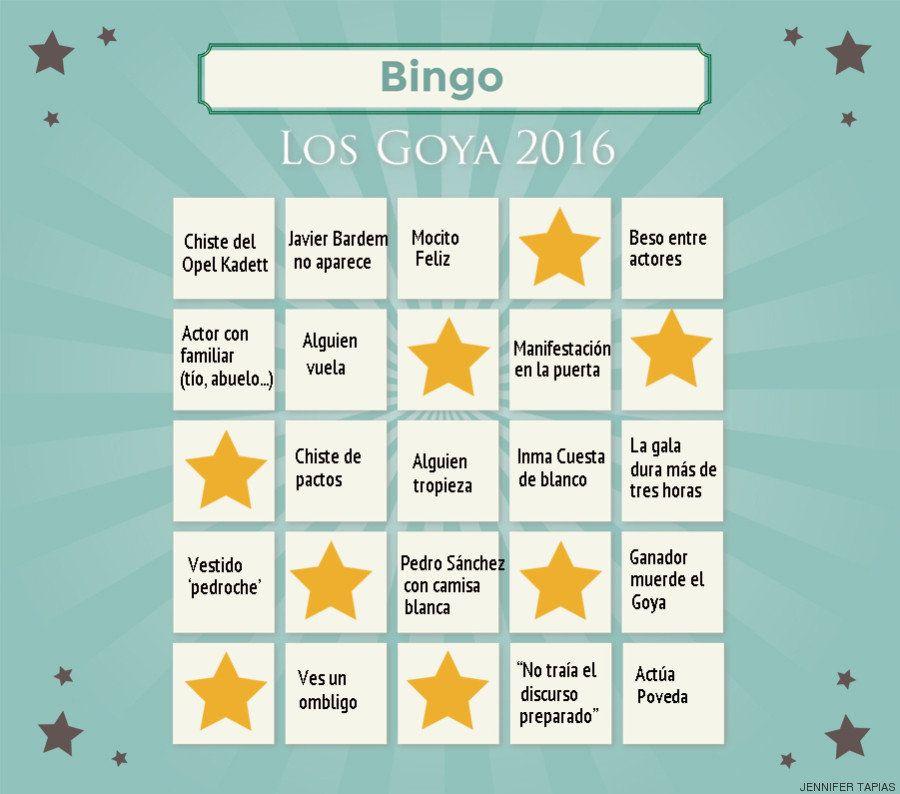 El bingo de los Goya 2016 para jugar mientras ves la