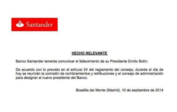 Fallece el presidente del Banco Santander, Emilio