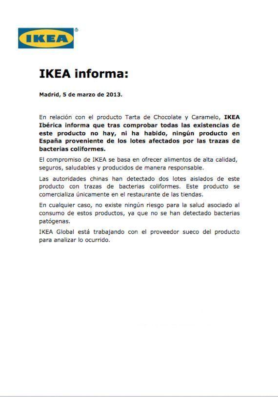 Ikea asegura que no hay tartas afectadas en España por bacterias