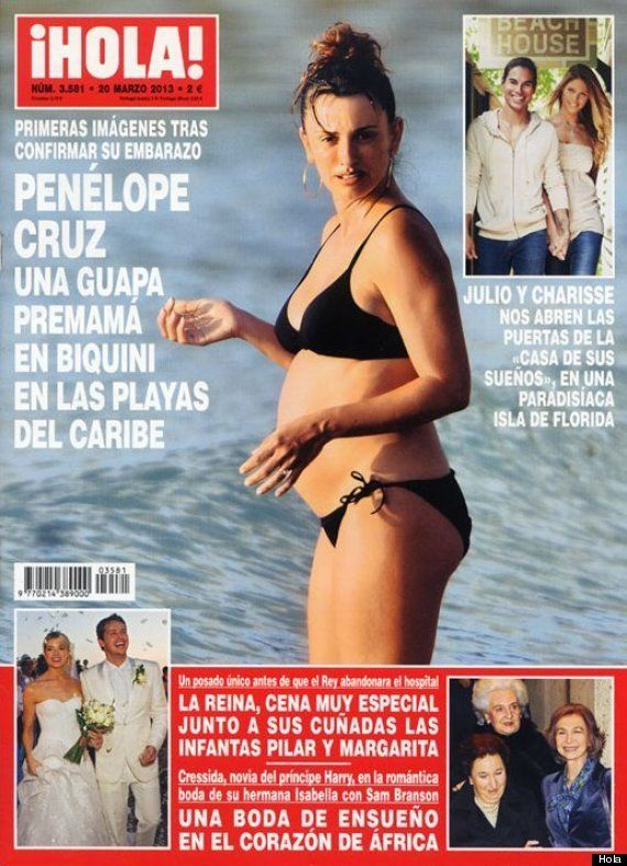 Penélope Cruz embarazada en biquini, luciendo 'barriguita' en la portada de 'Hola'