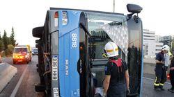 El vuelco de un autobús municipal en Madrid provoca 15