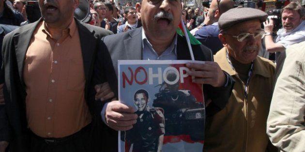 Cientos de palestinos protestan contra la visita de