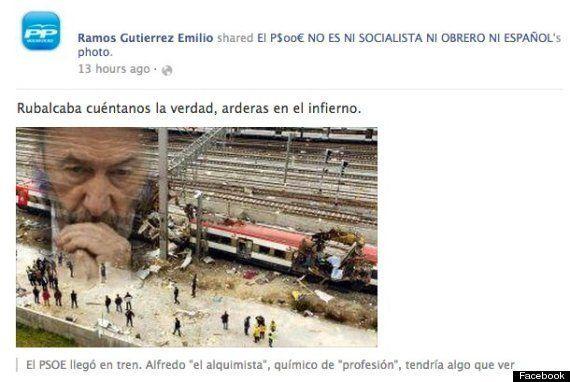 Un concejal del PP comparte en Facebook una imagen relacionando a Rubalcaba con los atentados del