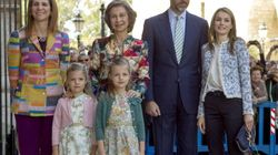 La familia real, a medias en la misa de Pascua