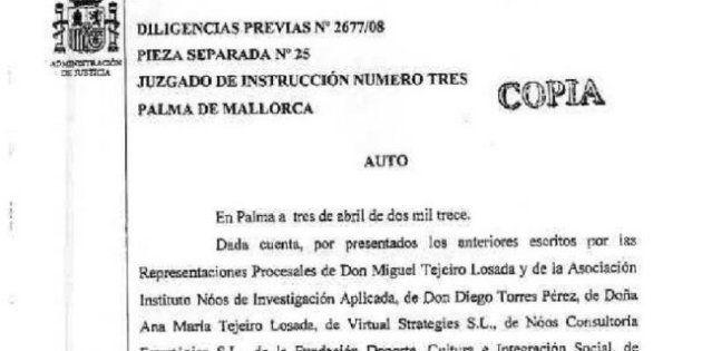 Auto del juez Castro con la imputación de la infanta Cristina: un documento para la