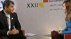 Rafael Correa pregunta por Ana Pastor en una entrevista en directo en el Canal