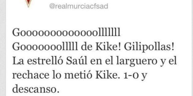 El Twitter del Murcia por error, tras un gol del equipo:
