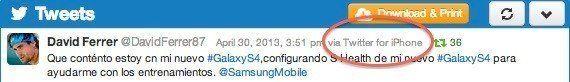 David Ferrer está muy contento con su nuevo Samsung... y lo demuestra desde su