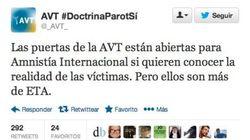 Esto es lo que ha escrito la AVT en Twitter sobre Amnistía