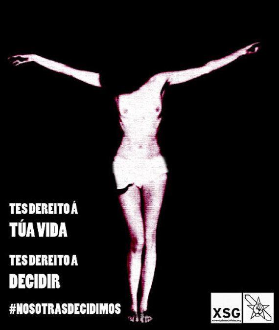 Las Xuventudes Socialistas de Galicia utilizan a una mujer crucificada contra la reforma del aborto