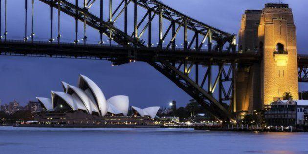 Australia, New South Wales, Sydney, Cityscape view of bridge and Opera