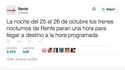 Este tuit de Renfe ha generado mucho cachondeo en Twitter,