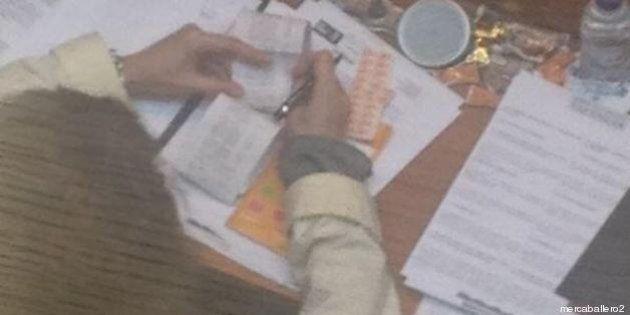 La diputada del PP Carlota Navarro revisa el tique de la compra durante el pleno de la Diputación de