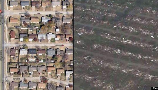 Antes y después del tornado