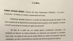 Los senadores de Podemos piden hacer esto con la asignación para