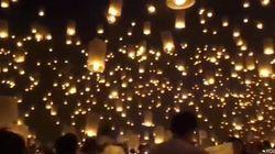 Un cielo iluminado de linternas voladoras para lograr un récord