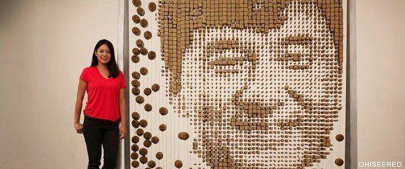 Jackie Chan con palillos chinos: la artista Hong Yi le hace un retrato