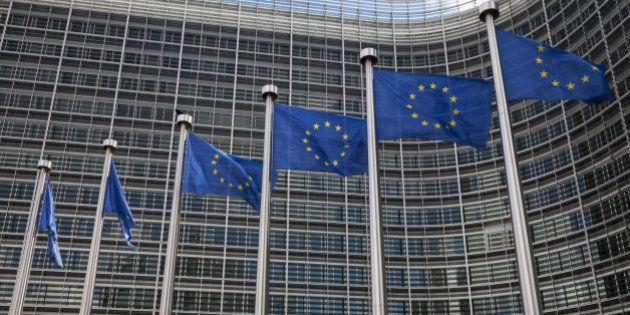 Belgium, Brussels, European Commission, European flags at Berlaymont
