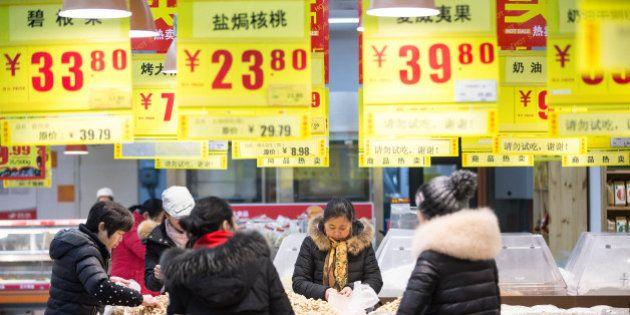 HANGZHOU, CHINA - JANUARY 19: (CHINA OUT) Citizens purchase goods at a supermarket on January 19, 2016...