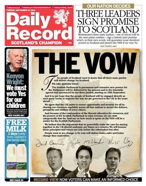 Cameron, Miliband y Clegg prometen más autonomía a Escocia si se queda en el Reino