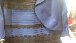 ¿De qué color ves este vestido, blanco o azul?